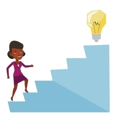 Business woman walking upstairs to the idea bulb vector image vector image