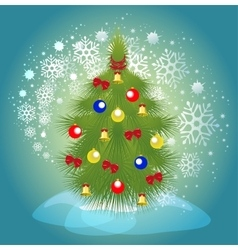 Christmas tree with balls bells and ribbons on a vector image vector image