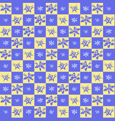 Exotic checkered flower pattern vector