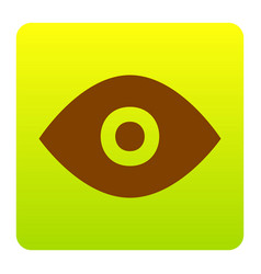 Eye sign brown icon at green vector