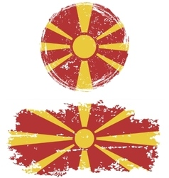 Macedonian round and square grunge flags vector image vector image