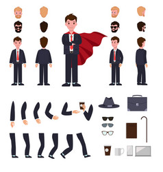 Man in suit with mantle character creation set vector