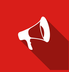 Megaphone flat icon with long shadow vector