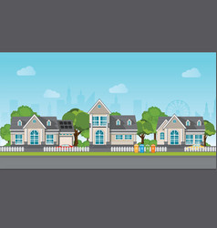 modern family house with car vector image