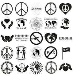 peace set black icon on white vector image vector image