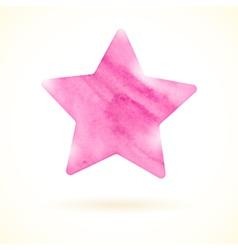 Pink watercolor star vector image