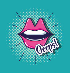 Pop art mouth patch design vector
