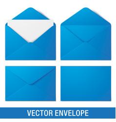 Realistic blue envelope mockups vector