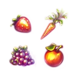 Set of fruits and vegetables Strawberry carrot vector image vector image