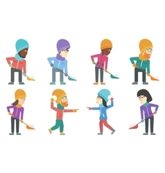 Set of people characters in winter vector