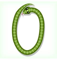 Snake font Digit 0 vector image
