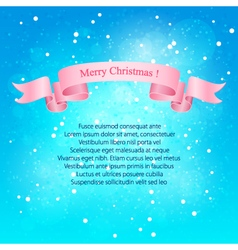 Snowfall pink ribbon merry christmas vector