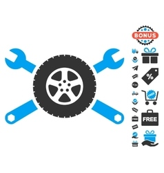Tire service wrenches icon with free bonus vector