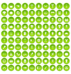 100 barbecue icons set green circle vector image