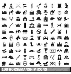 100 horsemanship icons set simple style vector