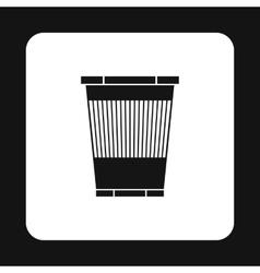 Plastic waste bin icon simple style vector