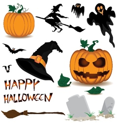 Happy halloween and pumpkin witch spooky bats vector