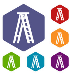 Stepladder icons set vector