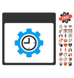 clock configuration gear calendar page icon with vector image