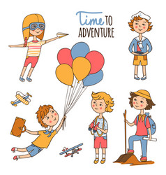 Little travelers around the world vector