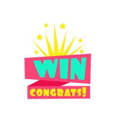 Win congratulations sticker design template for vector