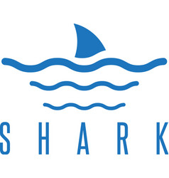 Design template of the shark fin and waves vector