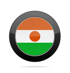 Flag of niger shiny black round button vector