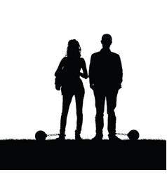 Couple silhouette with prision ball in nature vector