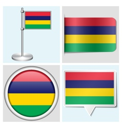 Mauritius flag - sticker button label flagstaff vector