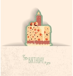 cute happy birthday card with cupcake vector image