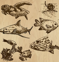 Underwater sea life set no1 - hand drawn vector