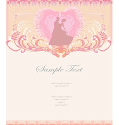 Ballroom wedding couple dancers - invitation card vector