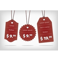 Red hanging cardboard pricing tags vector