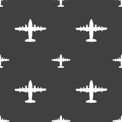 Aircraft icon sign seamless pattern on a gray vector
