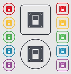Power switch icon sign symbols on the round and vector