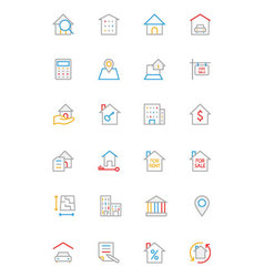 Real estate colored line icons 1 vector