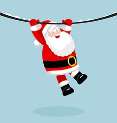 Santa claus hanging on the rope vector