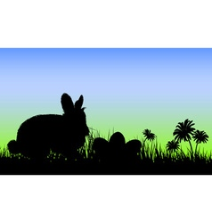 Silhouette of a bunny with easter eggs vector