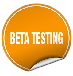 Beta testing round orange sticker isolated on vector