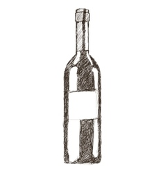 Wine bottle sketch icon vector