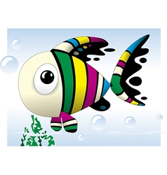 Baby fish cute colorful cartoon vector