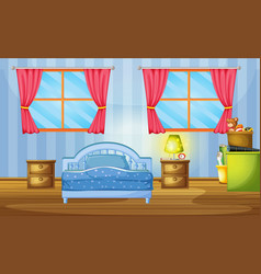bedroom with blue bed and wallpaper vector image