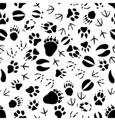 Black and white animal tracks pattern vector