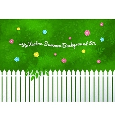Blooming shrubs and white fence vector