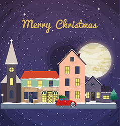 Christmas background with fairy tale houses Winter vector image