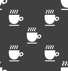 Coffee cup sign Seamless pattern on a gray vector image