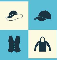Dress icons set collection of trilby elegant vector