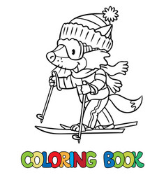 funny fox rides on skis coloring book vector image