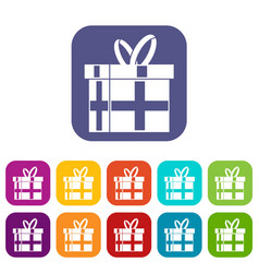 Gift in a box icons set vector