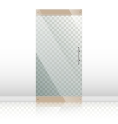 Glass doors with chrome silver handles set vector image